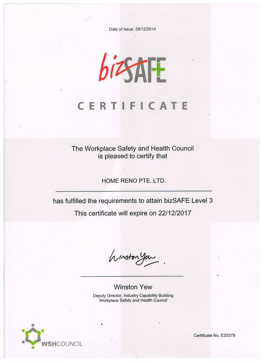 Bizsafe level 3 award certificate